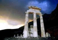 Delphi Tour : The Tholos at base of Mount Parnassus
